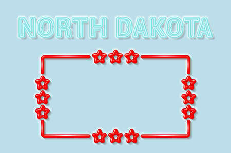 North Dakota US state soft blue neon letters lights off. Glossy bold red frame with stars. Soft shadows. Light blue background. Vector illustration. 向量圖像