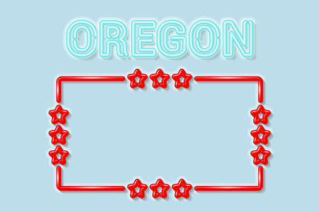 Oregon US state soft blue neon letters lights off. Glossy bold red frame with stars. Soft shadows. Light blue background. Vector illustration.