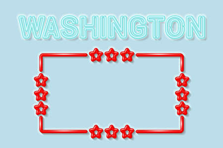 Washington US state soft blue neon letters lights off. Glossy bold red frame with stars. Soft shadows. Light blue background. Vector illustration.