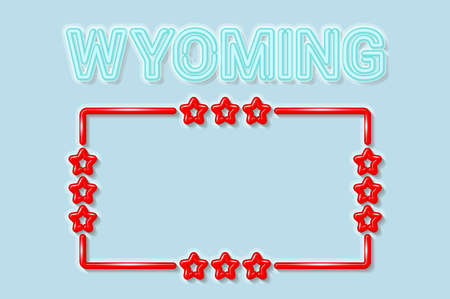 Wyoming US state soft blue neon letters lights off. Glossy bold red frame with stars. Soft shadows. Light blue background. Vector illustration.