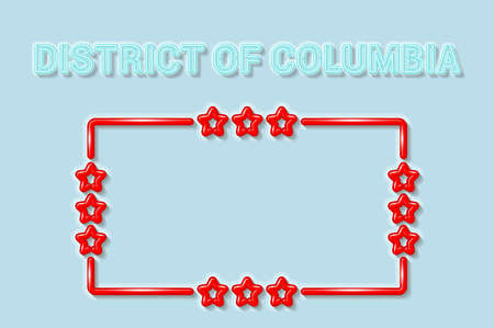 District of Columbia or Washington DC soft blue neon letters lights off. Glossy bold red frame with stars. Soft shadows. Light blue background. Vector illustration. 向量圖像