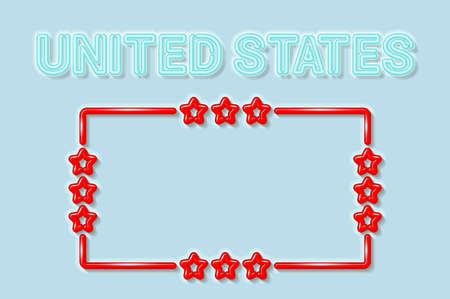United States soft blue neon letters lights off. Glossy bold red frame with stars. Soft shadows. Light blue background. Vector illustration.