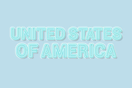 United States of America soft blue neon letters lights off. Soft shadows. Light blue background. Vector illustration.