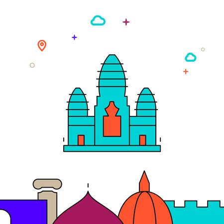 Angkor Wat, Cambodia filled line vector icon, simple illustration, world landmarks related bottom border. 向量圖像