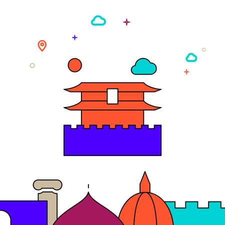 Forbidden City, Beijing filled line vector icon, simple illustration, world landmarks related bottom border.