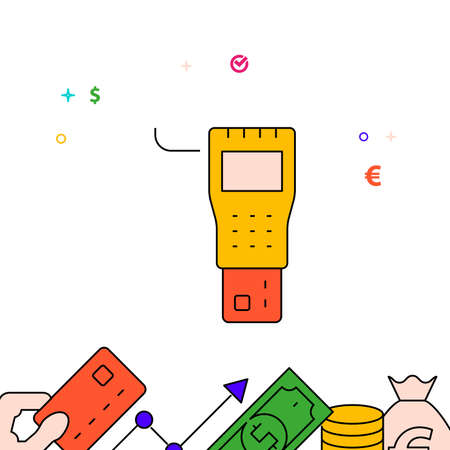 Payment terminal filled line vector icon, simple illustration, finance and money related bottom border. 矢量图像
