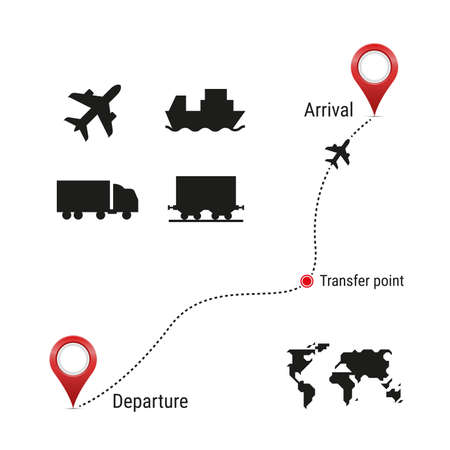 Cargo transportation icon set and route template. Simple world map. Airplane, container ship, wagon, railway car silhouette icons. Vector illustration.