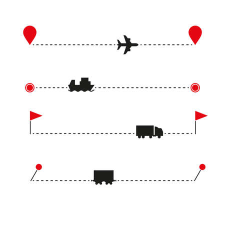Cargo transportation icon set and route template. Various map markers. Airplane, container ship, wagon, railway car silhouette icons. Vector illustration. Illusztráció
