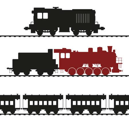 Old locomotives, shunting locomotive and steam locomotive with tender. Vintage wagons. Vector illustration.