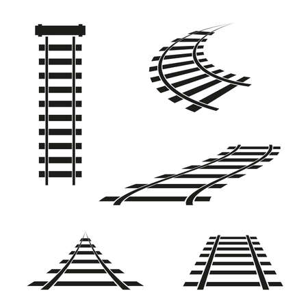 Rail icons in different angles. Vector illustration.