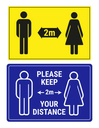2 social distance signs, vector illustration. Please keep your distance 2 meters yellow and blue banners, man and woman icons. Ilustración de vector