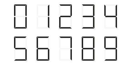 LED numbers font 0-9. Black and white. Vector illustration. Digits electronic dial numerals.
