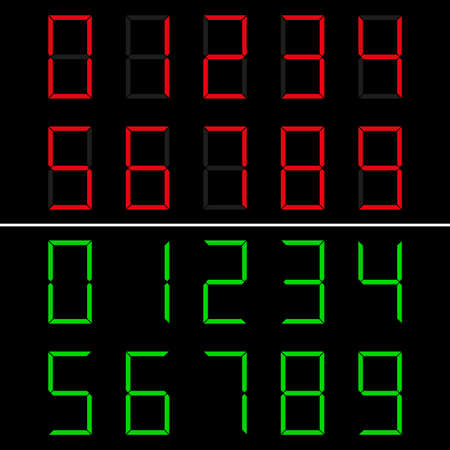 LED numbers font 0-9. Red and green. Vector illustration. Digits electronic dial numerals.