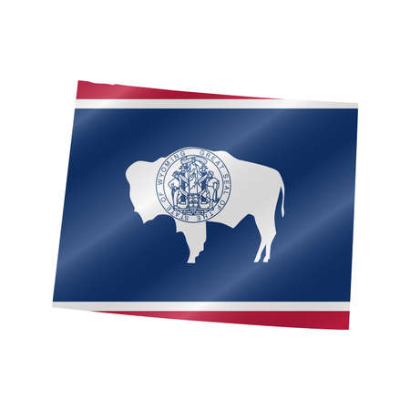 Detailed waving flag map of Wyoming. Vector map with masked flag.
