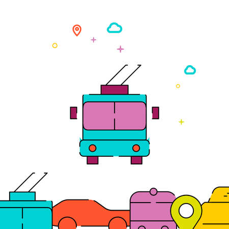 Trolleybus front view filled line vector icon, simple illustration, city public transportation related bottom border.
