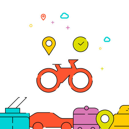 Rental bike filled line vector icon, simple illustration, city public transportation related bottom border. Vettoriali