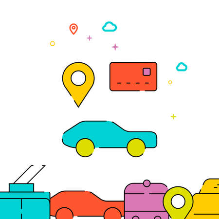 Rental car filled line vector icon, simple illustration, city public transportation related bottom border. Vettoriali