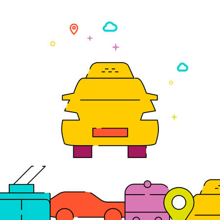 Yellow taxi filled line vector icon, simple illustration, city public transportation related bottom border. Vettoriali