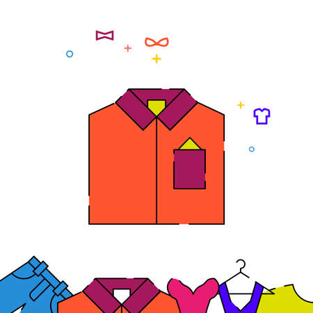 Men shirt filled line vector icon, simple illustration, garments, dress, wearing clothes related bottom border.