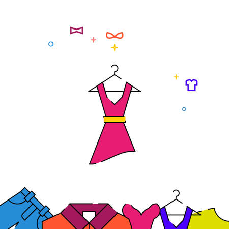 Women dress with a belt filled line vector icon, simple illustration, garments, dress, wearing clothes related bottom border.