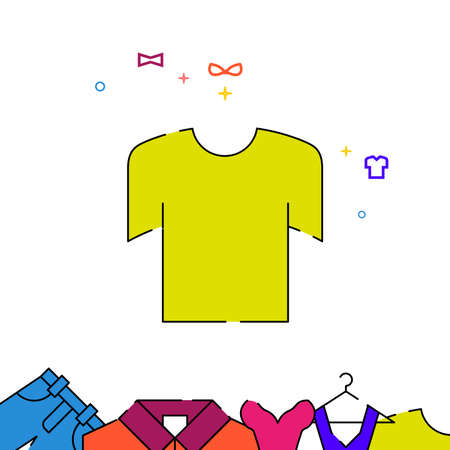 T-shirt filled line vector icon, simple illustration, garments, dress, wearing clothes related bottom border.