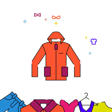 Orange track jacket filled line vector icon, simple illustration, garments, dress, wearing clothes related bottom border. Vettoriali