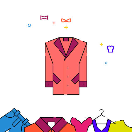 Men coat filled line vector icon, simple illustration, garments, dress, wearing clothes related bottom border. Vettoriali