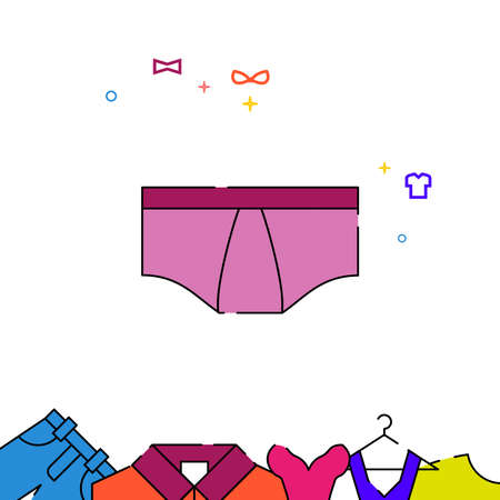 Men briefs filled line vector icon, simple illustration, garments, dress, wearing clothes related bottom border.