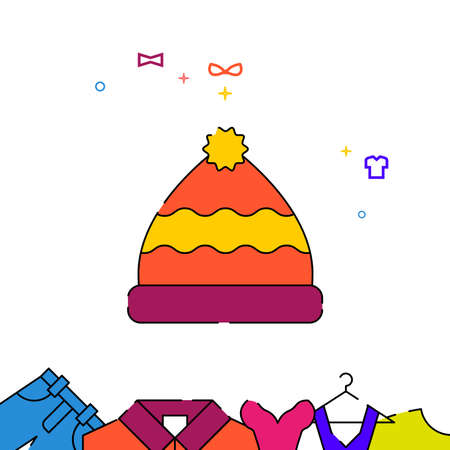 Hat with pompom filled line vector icon, simple illustration, garments, dress, wearing clothes related bottom border.