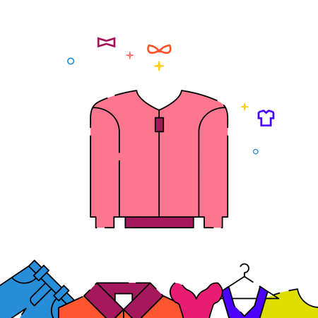 Pink jumper with zipper filled line vector icon, simple illustration, garments, dress, wearing clothes related bottom border.