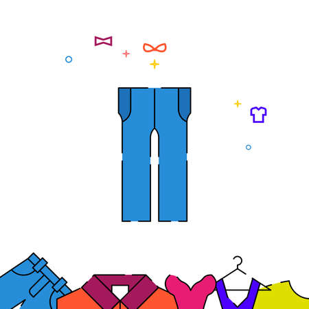 Blue pants, jeans filled line vector icon, simple illustration, garments, dress, wearing clothes related bottom border.