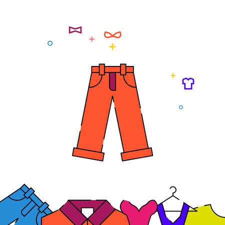 Orange pants rolled up filled line vector icon, simple illustration, garments, dress, wearing clothes related bottom border. Vettoriali