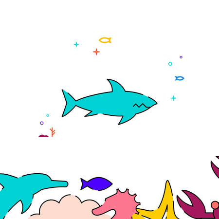 Shark filled line vector icon, simple illustration, sea world, marine life related bottom border. Vettoriali