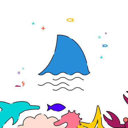 Shark fin filled line vector icon, simple illustration, sea world, marine life related bottom border. Vettoriali