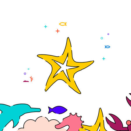 Starfish filled line vector icon, simple illustration, sea world, marine life related bottom border. Vettoriali