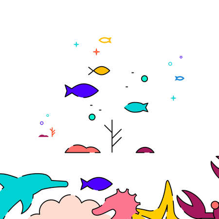 Small sea fishes, school of fish filled line vector icon, simple illustration, sea world, marine life related bottom border. Vettoriali