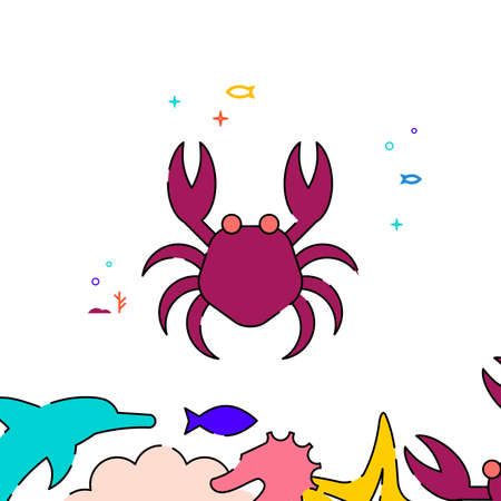 Red crab filled line vector icon, simple illustration, sea world, marine life related bottom border. Vettoriali
