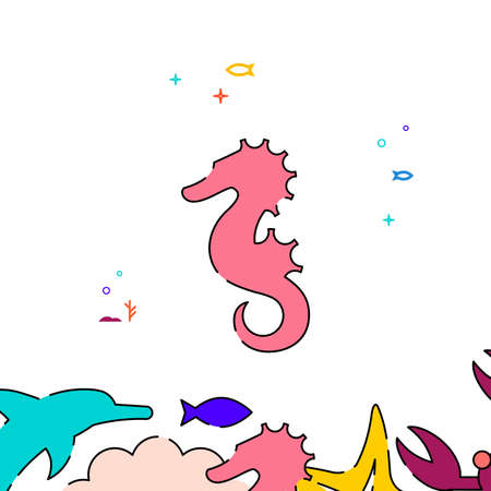 Sea horse filled line vector icon, simple illustration, sea world, marine life related bottom border.