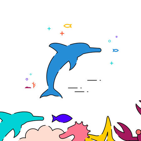 Dolphin filled line vector icon, simple illustration, sea world, marine life related bottom border.