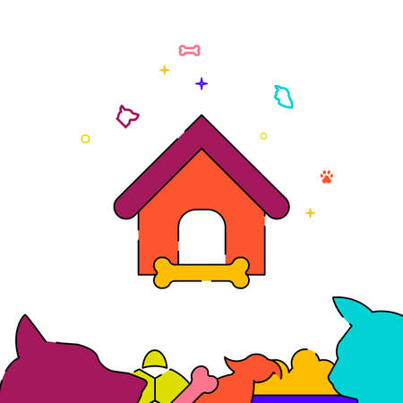 Doghouse filled line vector icon, simple illustration, pets related bottom border.