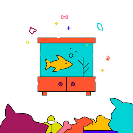 Goldfish in the aquarium filled line vector icon, simple illustration, pets related bottom border. Vettoriali