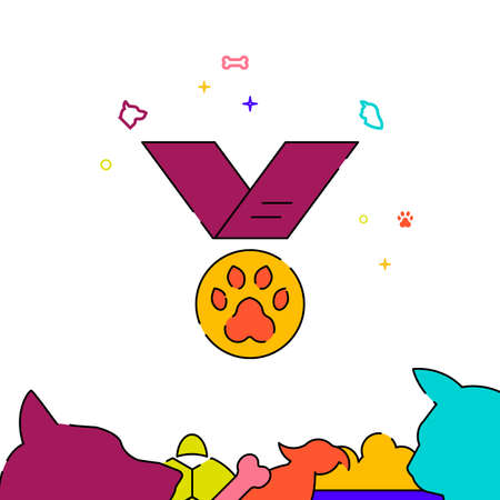 Dog medal filled line vector icon, simple illustration, pets related bottom border. Vettoriali