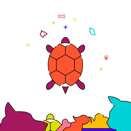 Turtle filled line vector icon, simple illustration, pets related bottom border.