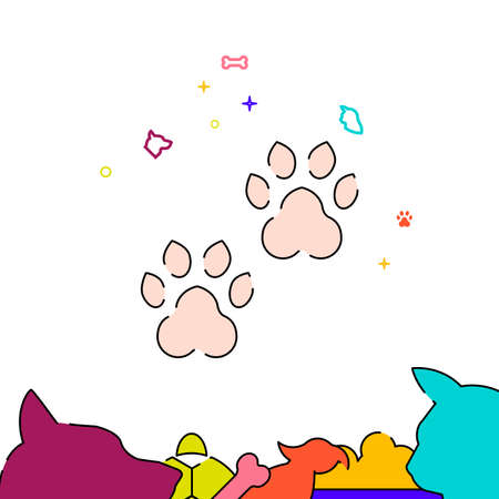 Paw prints filled line vector icon, simple illustration, pets related bottom border.