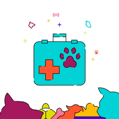 Veterinarian suitcase filled line vector icon, simple illustration, pets related bottom border.