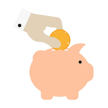 Businessman hand dipping sparkling gold coin into pink piggy bank. Flat style vector illustration isolated on white.