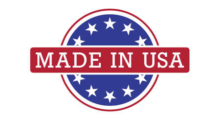 Made in USA round badge. Flat style vector illustration. Vettoriali
