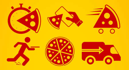 Pizza delivery icon set. Flat style vector illustration.