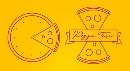Pizza time 2 emblem concept. Flat style vector illustration. Vettoriali