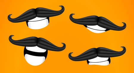 Mustache smiles. Curled mustache. Cartoon 3D vector illustration.